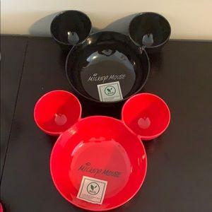Disney Mickey bowls 2 one black one red New